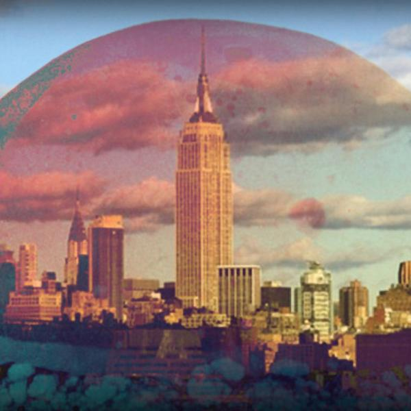 Graphic art representing a virtual mushroom cloud above New York City