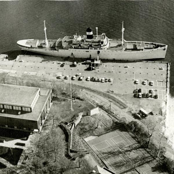 Black and white image of S.S. Stevens ship/dormitory on Hudson River