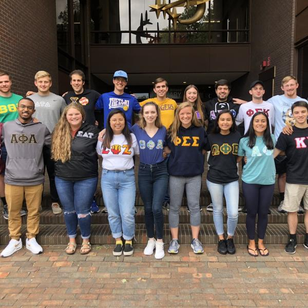 Stevens Greeks posing in front of S.C. Williams Library
