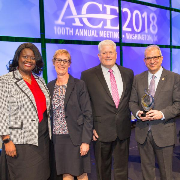 Stevens President Nariman Farvardin at ACE/Fidelity awards ceremony