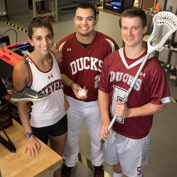 Stevens athletes in engineering lab