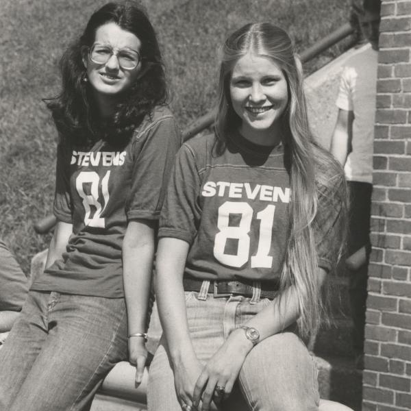 Two female Stevens students in the early 80s
