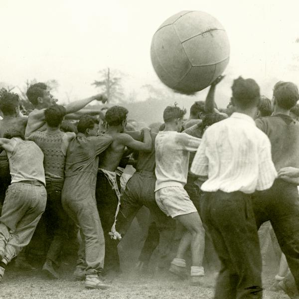 Dusty cage ball game played in the 1920s