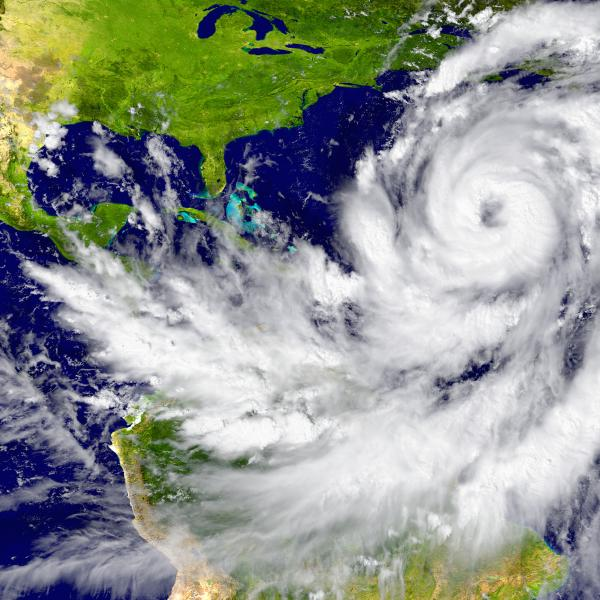 Satellite image of hurricane over Atlantic Ocean