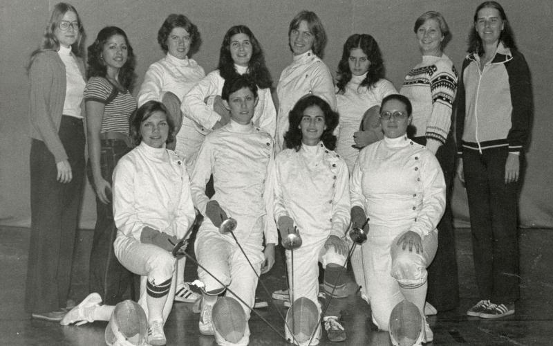 Group photo of Stevens women's 1977-78 fencing team