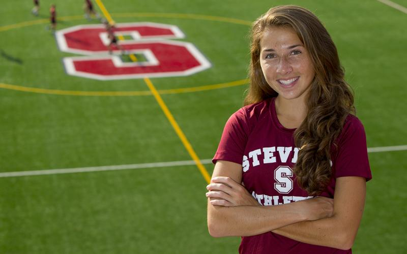 Amy Regan '17 at a Stevens athletic field