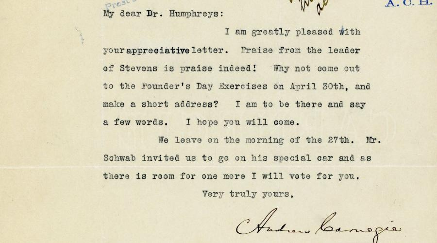 Letter from Carnegie