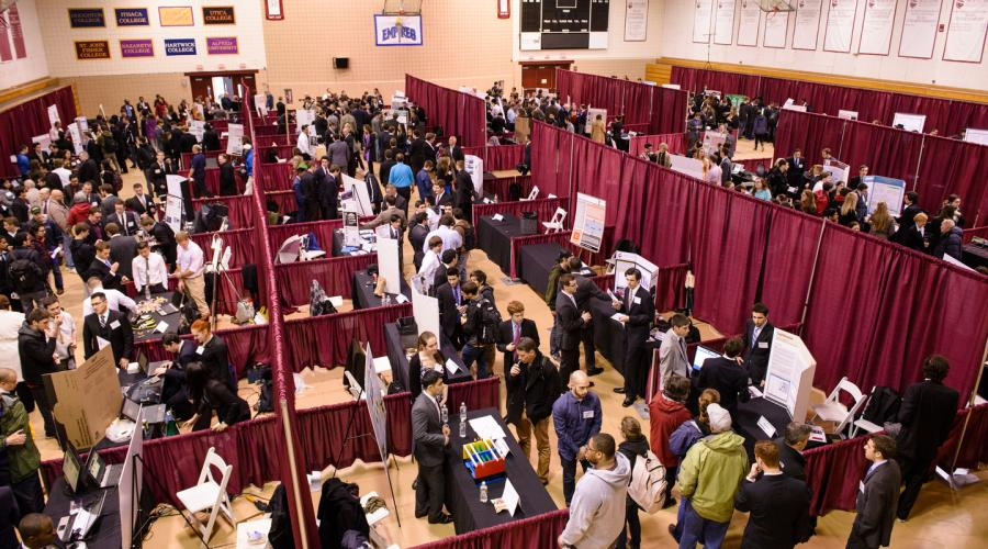 Overhead view of innovation expo booths